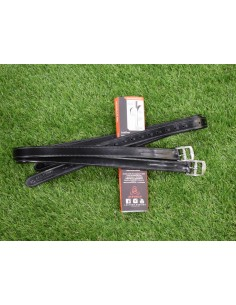 ACAVALLO LEATHER STIRRUP BLACK